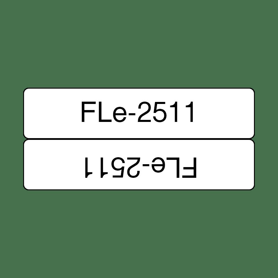 Cassette à ruban pour étiqueteuse FLe-2511 Brother originale - 72 étiquettes drapeaux pré-découpées  - Noir sur Blanc, 21 mm de large