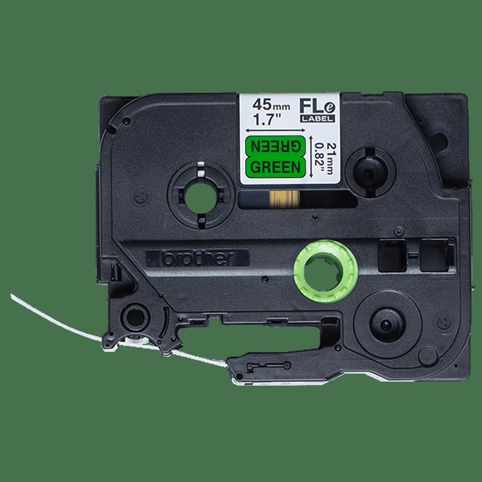 Cassette à ruban pour étiqueteuse FLe-7511 Brother originale - 72 étiquettes drapeaux pré-découpées - Noir sur Vert, 21 mm de large 2
