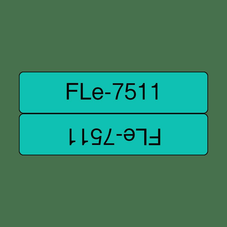 Cassette à ruban pour étiqueteuse FLe-7511 Brother originale - 72 étiquettes drapeaux pré-découpées - Noir sur Vert, 21 mm de large