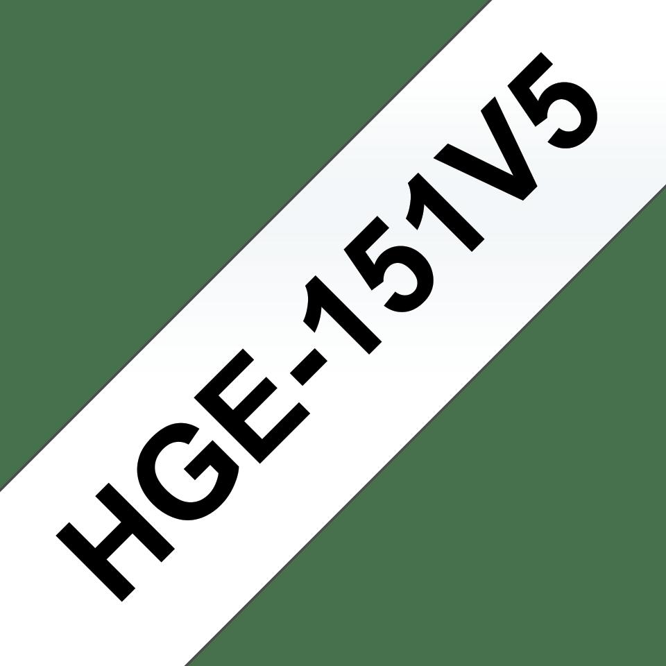 Cassette à ruban pour étiqueteuse HGe-151V5 Brother originale – Noir sur transparent, 24mm de large