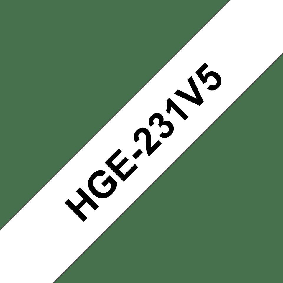 Cassette à ruban pour étiqueteuse HGe-231V5 Brother originale – Noir sur blanc, 12mm de large