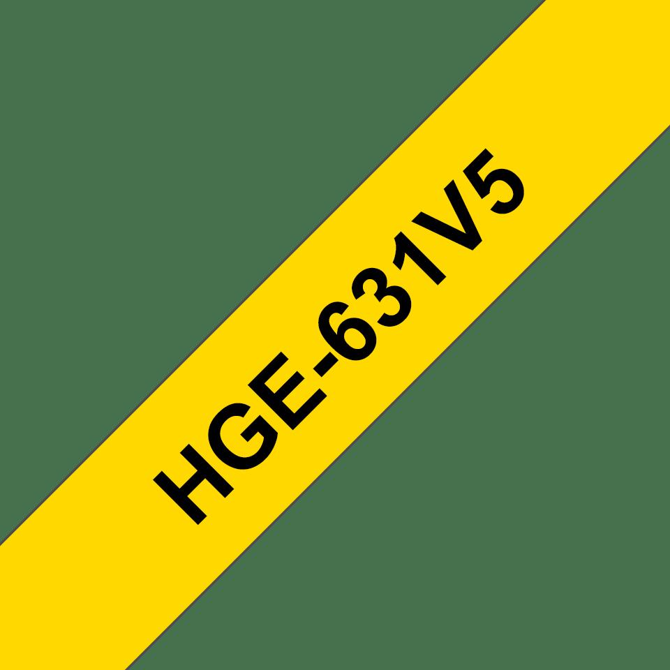 Cassette à ruban pour étiqueteuse HGe-631V5 Brother originale – Noir sur jaune, 12mm de large