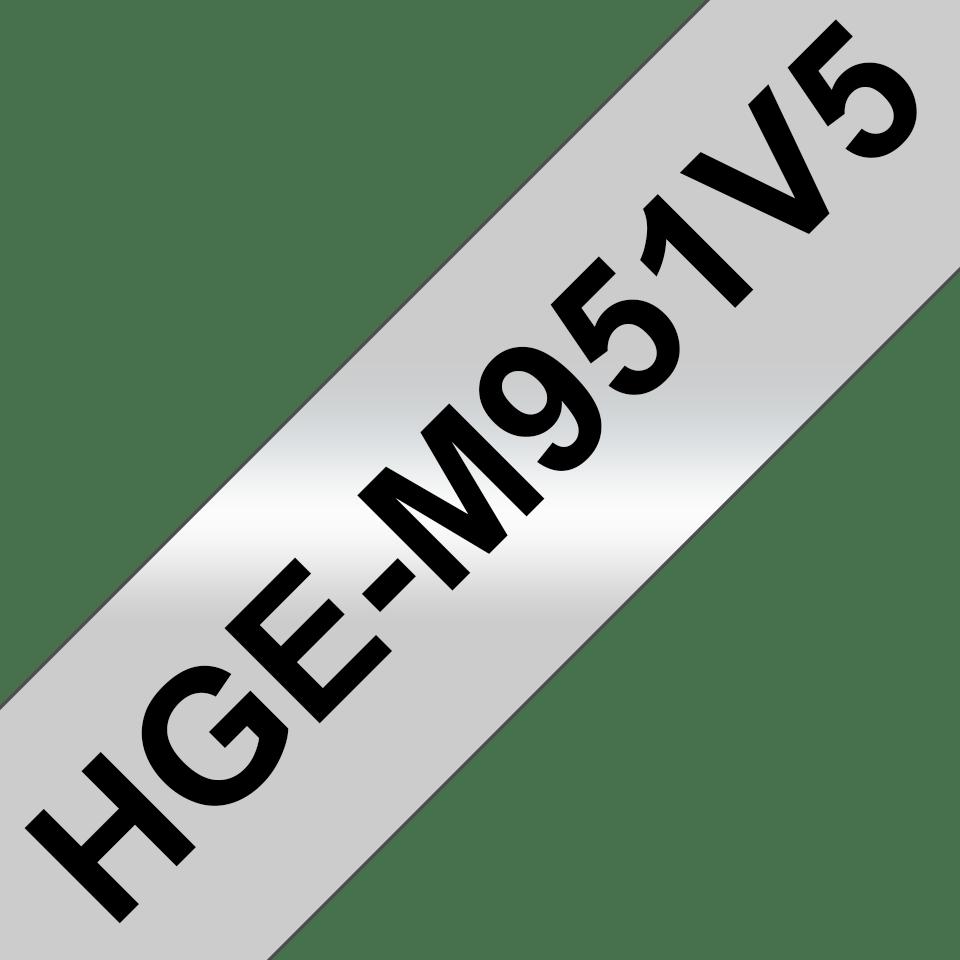 Rubans pour étiqueteuse HGe-M951V5 Brother originaux – Noir sur argent mat, 24mm de large 0