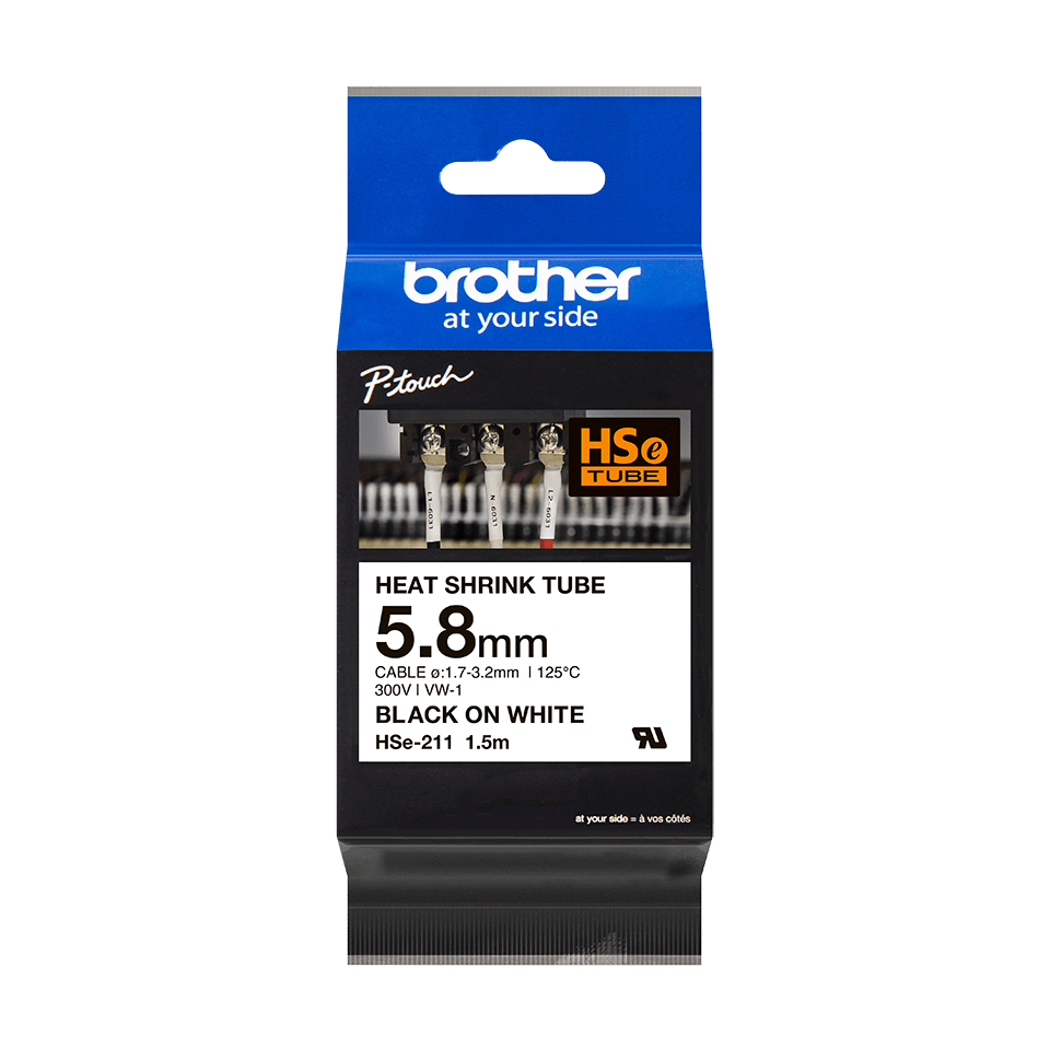 Cartouche pour gaine thermorétractable HSe-211 Brother originale – Noir sur blanc, 5,8 mm de large 2