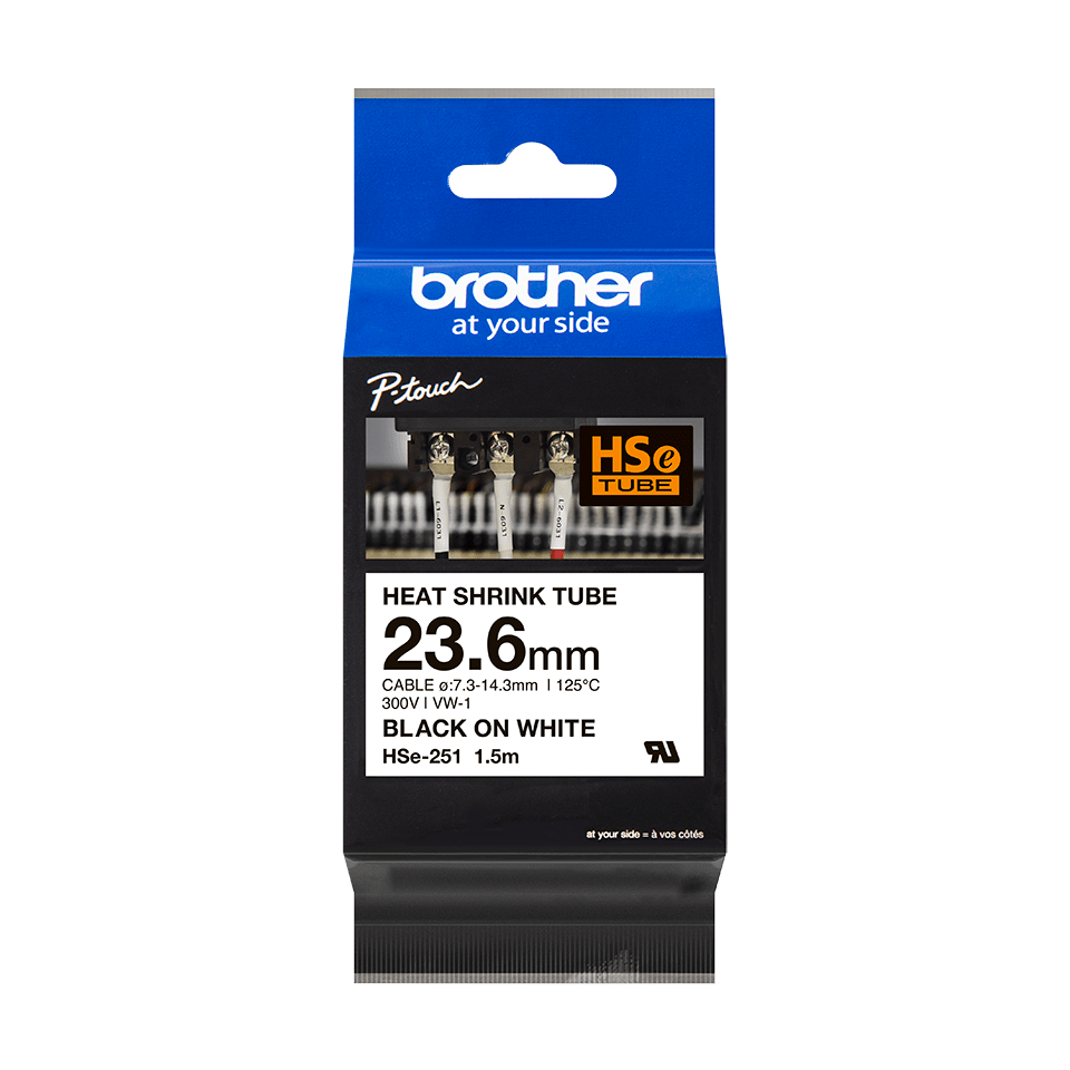 Cartouche pour gaine thermorétractable HSe-251 Brother originale – Noir sur blanc, 23,6 mm de large 2