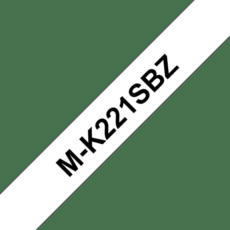 Cassette à ruban pour étiqueteuse M-K221SBZ Brother originale – Noir sur blanc, 9mm de large