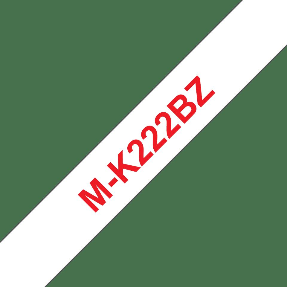 Cassette à ruban pour étiqueteuse M-K222BZ Brother originale – Rouge sur blanc, 9mm de large