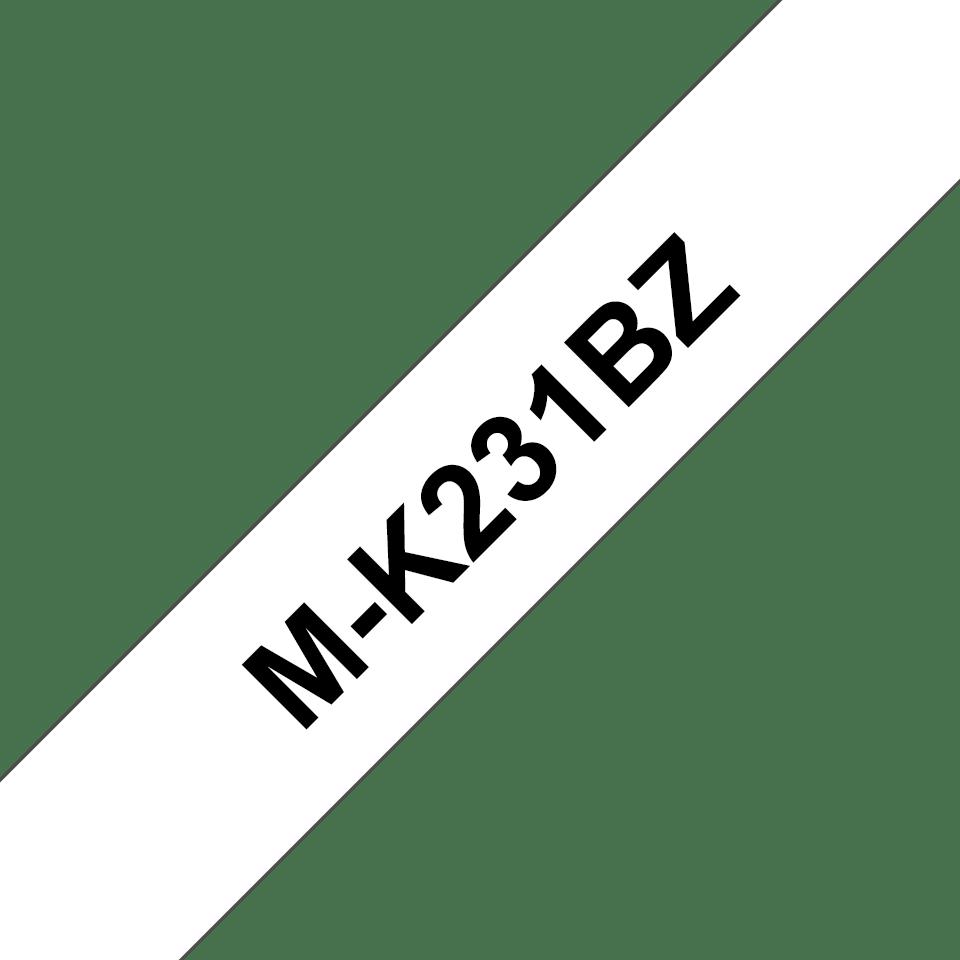 Ruban plastique pour étiqueteuse M-K231BZ Brother original – Noir sur blanc, 12mm de large 0