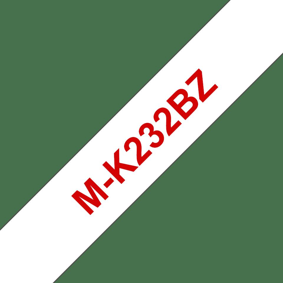 Cassette à ruban pour étiqueteuse M-K232BZ Brother originale – Rouge sur blanc, 12mm de large