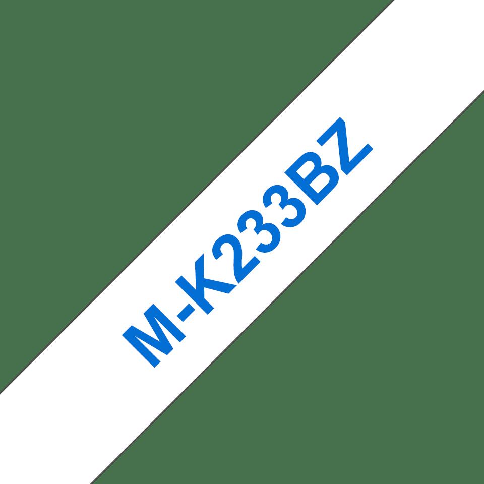 Cassette à ruban pour étiqueteuse M-K233BZ Brother originale – Bleu sur blanc, 12mm de large