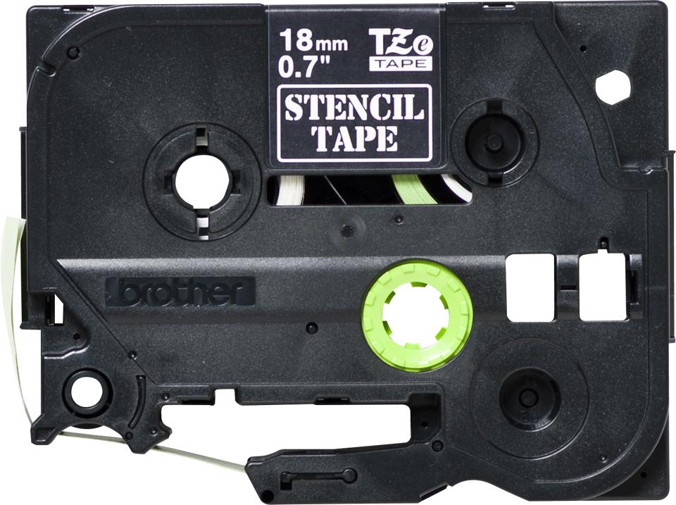 Cassette à ruban pochoir pour étiqueteuse STe-141 Brother originale – Noir, 18mm de large 0