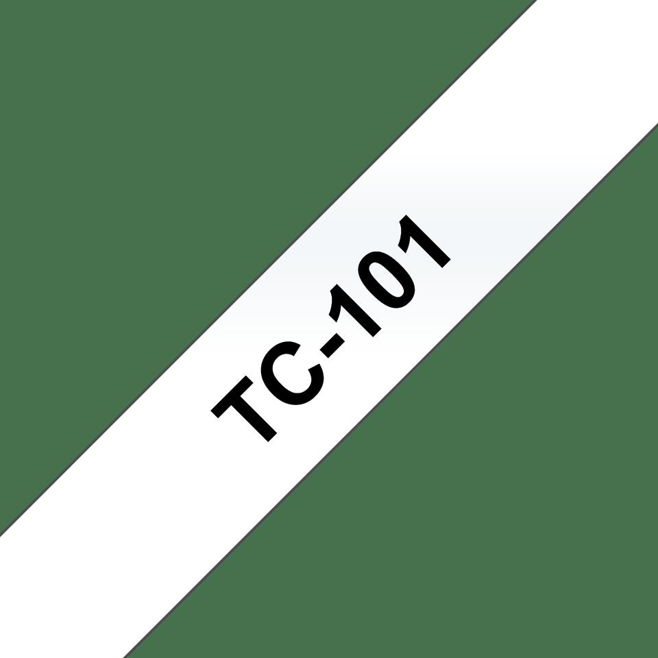 Cassette à ruban pour étiqueteuse TC-101 Brother originale – Noir sur transparent, 12mm de large