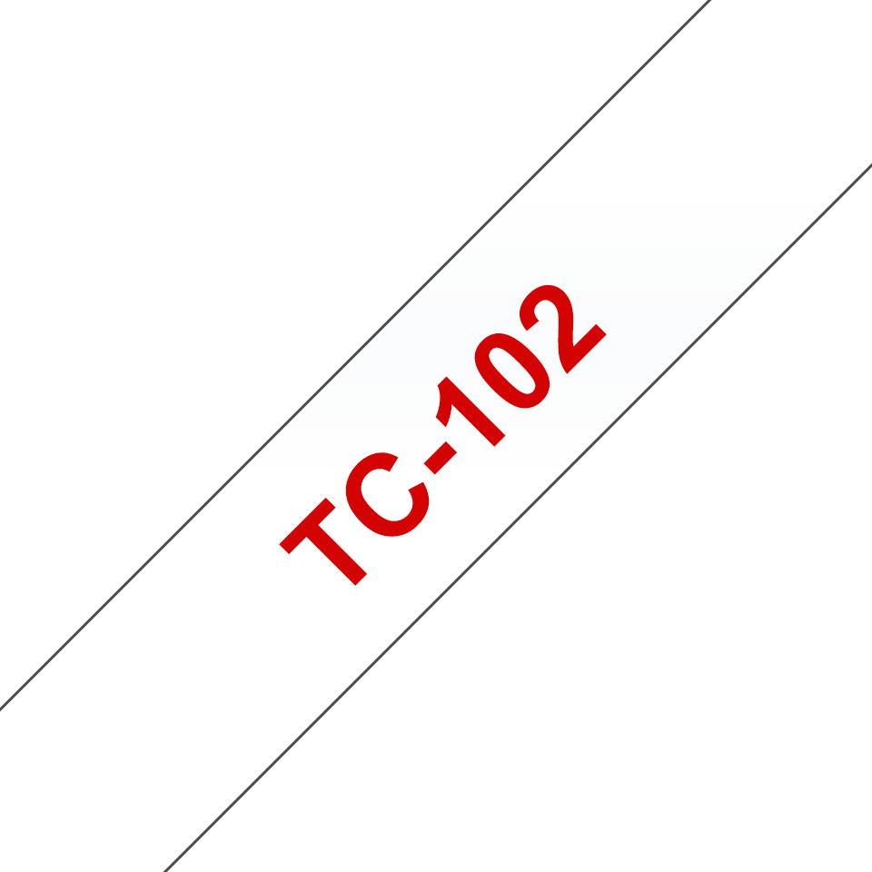 Cassette à ruban pour étiqueteuse TC-102 Brother originale – Rouge sur transparent, 12mm de large