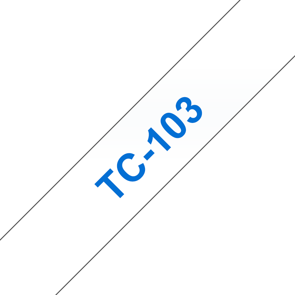 Cassette à ruban pour étiqueteuse TC-103 Brother originale – Bleu sur transparent, 12mm de large 0