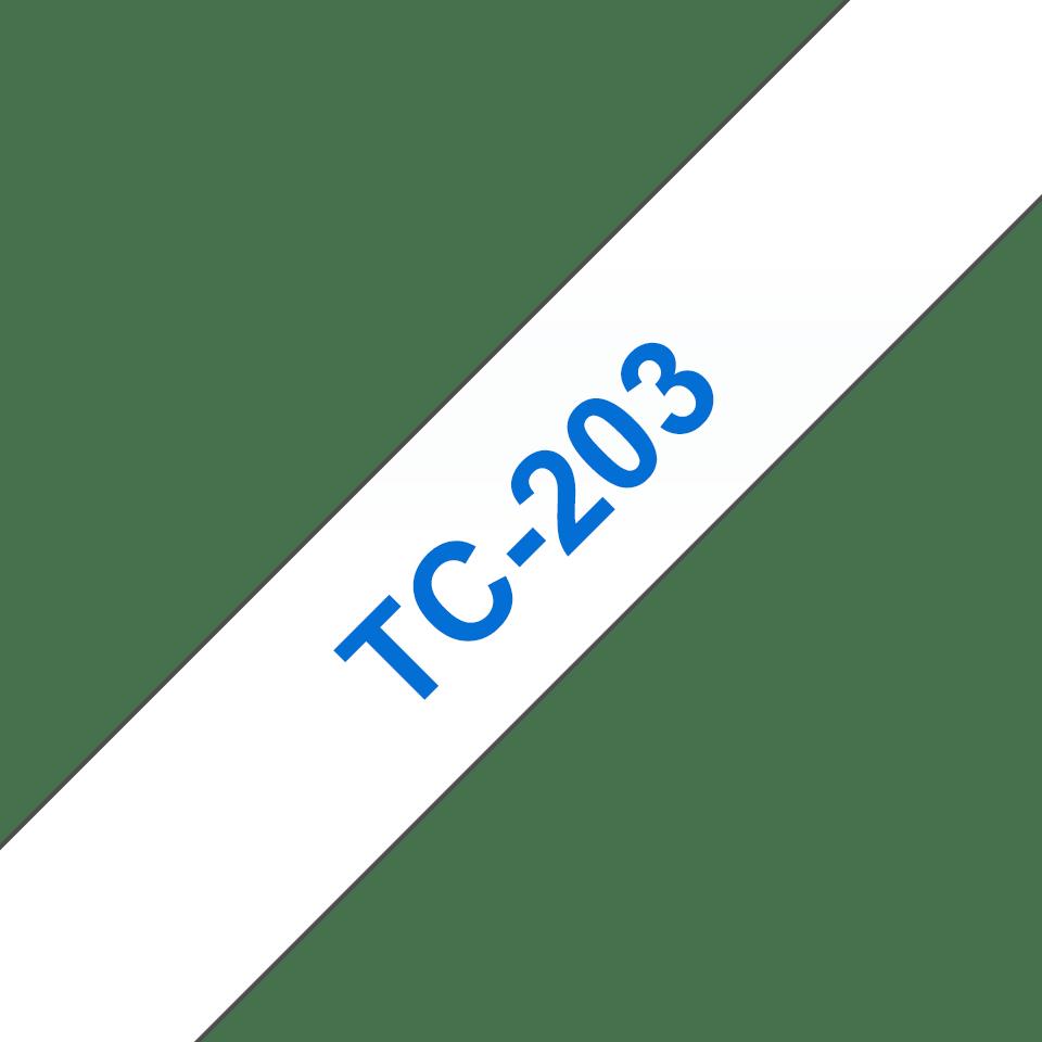 Cassette à ruban pour étiqueteuse TC-203 Brother originale – Bleu sur blanc, 12mm de large