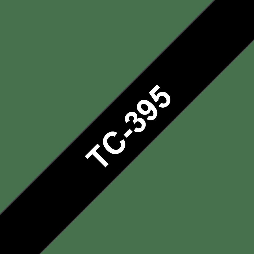 Cassette à ruban pour étiqueteuse TC-395 Brother originale – Blanc sur noir, 9mm de large