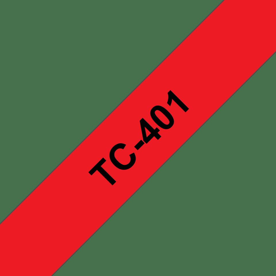 Cassette à ruban pour étiqueteuse TC-401 Brother originale – Noir sur rouge, 12mm de large