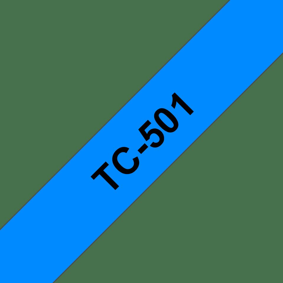 Cassette à ruban pour étiqueteuse TC-501 Brother originale – Noir sur bleu, 12mm de large