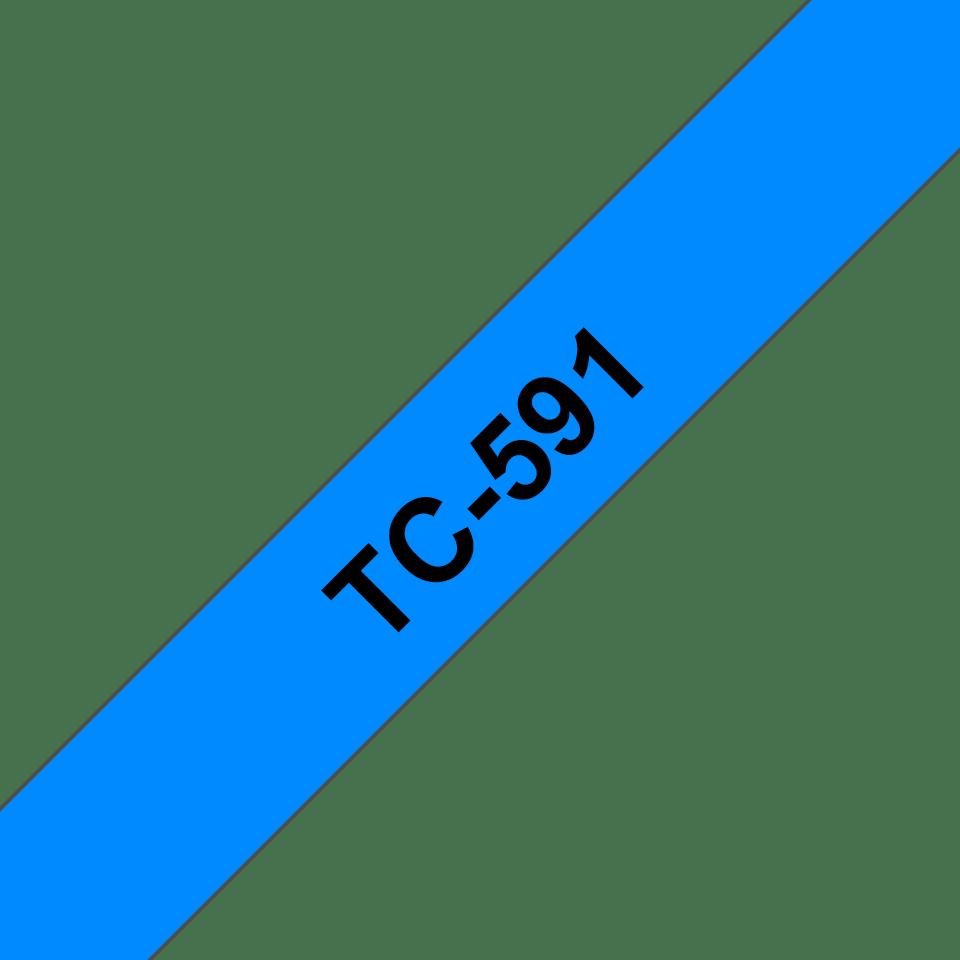 Cassette à ruban pour étiqueteuse TC-591 Brother originale – Noir sur bleu, 9mm de large