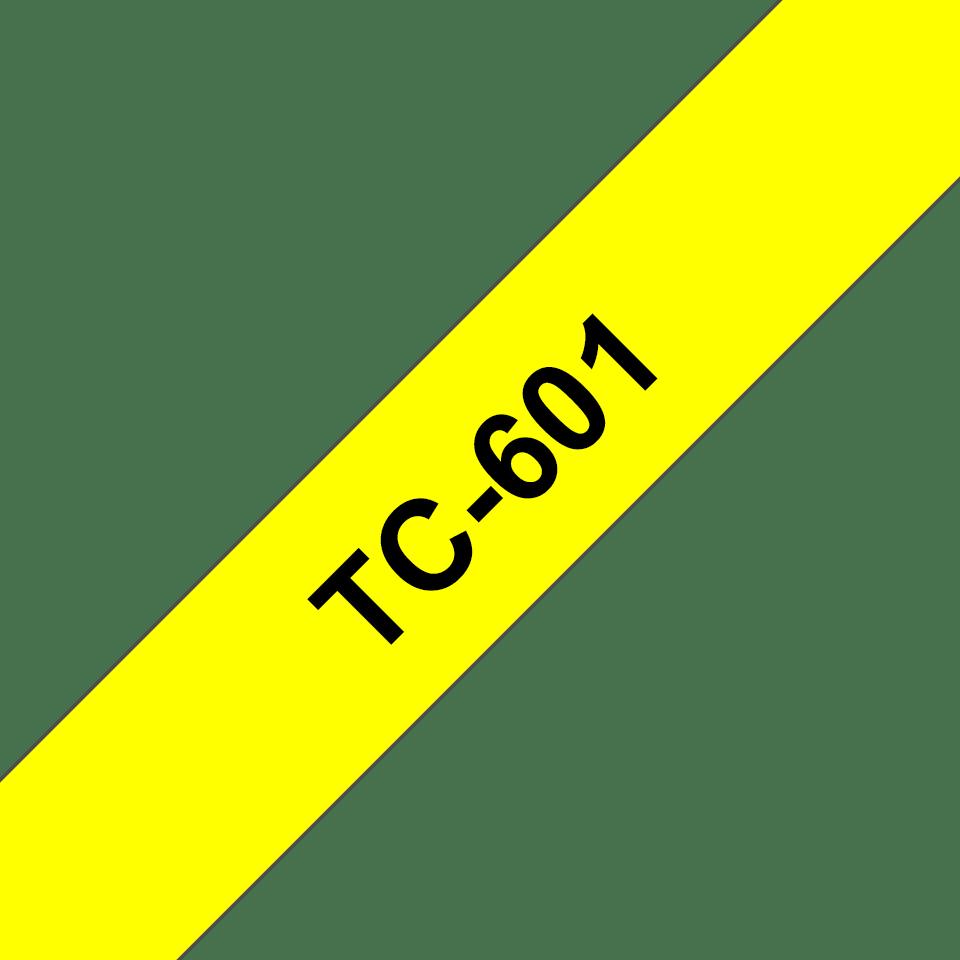 Cassette à ruban pour étiqueteuse TC-601 Brother originale – Noir sur jaune, 12mm de large