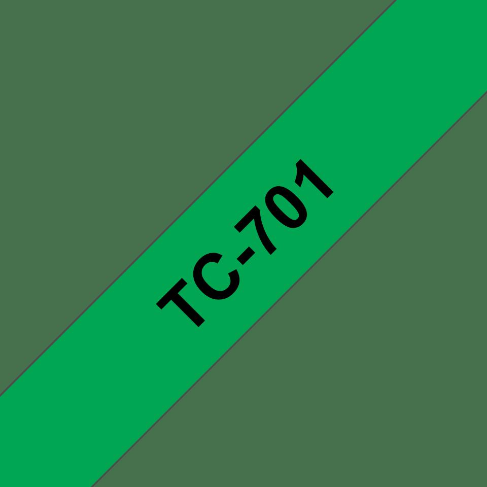 Cassette à ruban pour étiqueteuse TC-701 Brother originale – Noir sur vert, 12mm de large