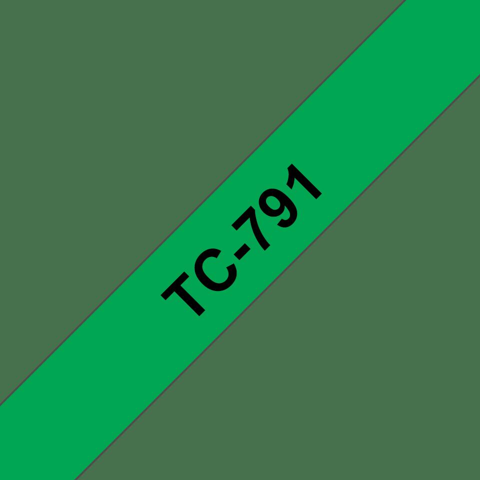 Cassette à ruban pour étiqueteuse TC-791 Brother originale – Noir sur vert, 9mm de large