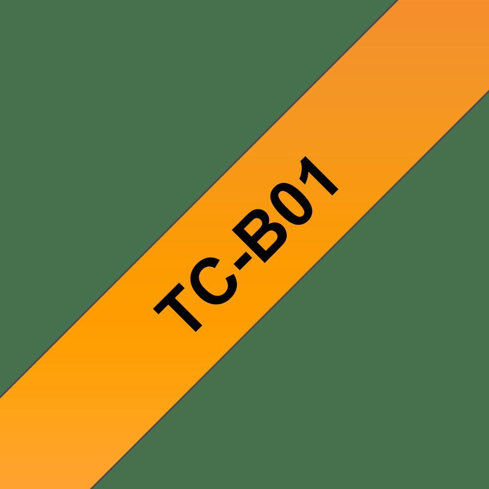 Cassette à ruban fluorescent pour étiqueteuse TC-B01 Brother originale – Noir sur orange, 12mm de large