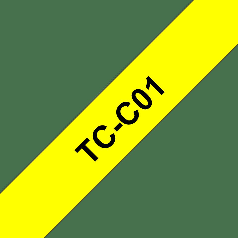 Cassette à ruban fluorescent pour étiqueteuse TC-C01 Brother originale – Noir sur jaune, 12mm de large