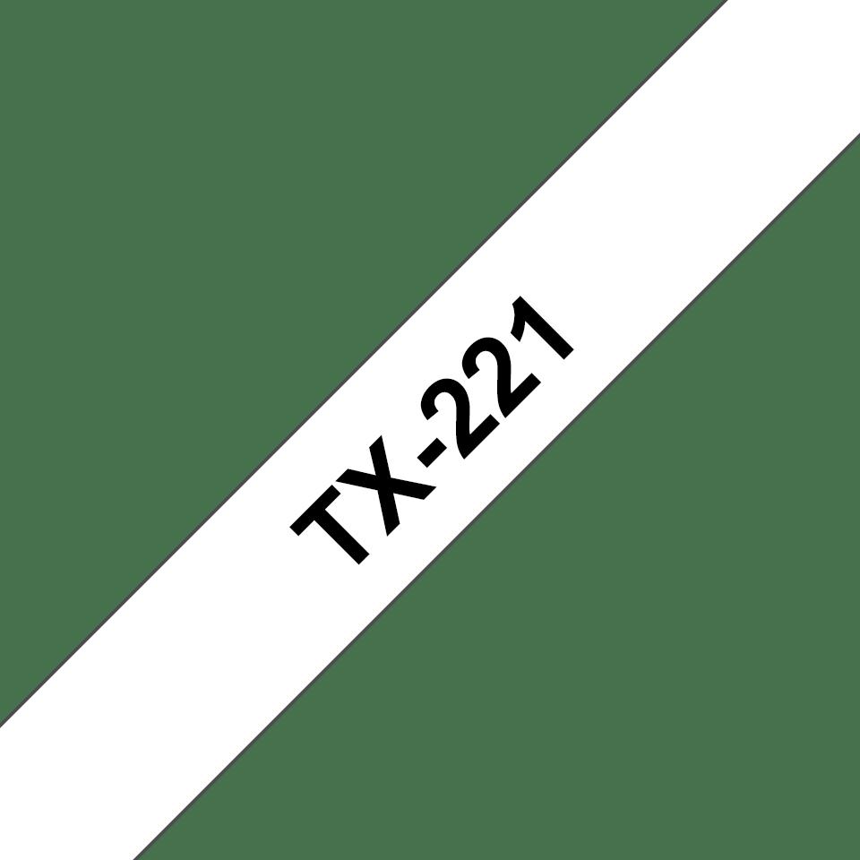 Cassette à ruban pour étiqueteuse TX-221 Brother originale – Noir sur blanc, 9mm de large 0