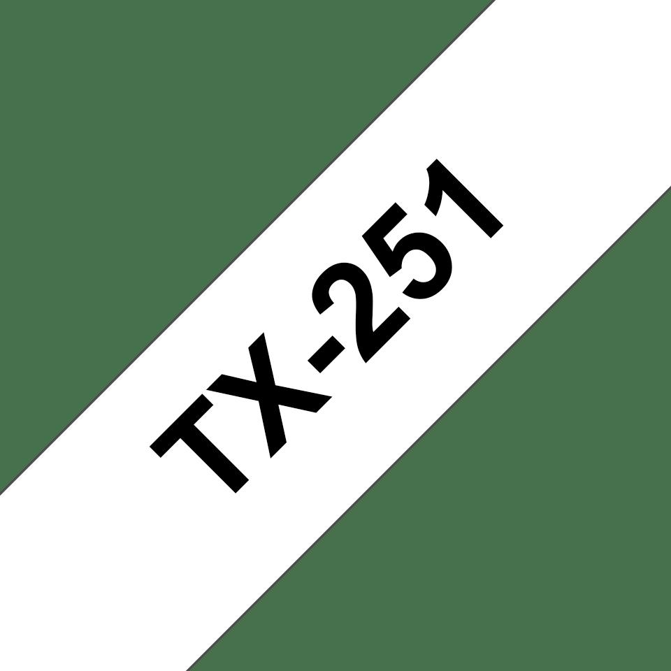 Cassette à ruban pour étiqueteuse TX-251 Brother originale – Noir sur blanc, 24mm de large 0