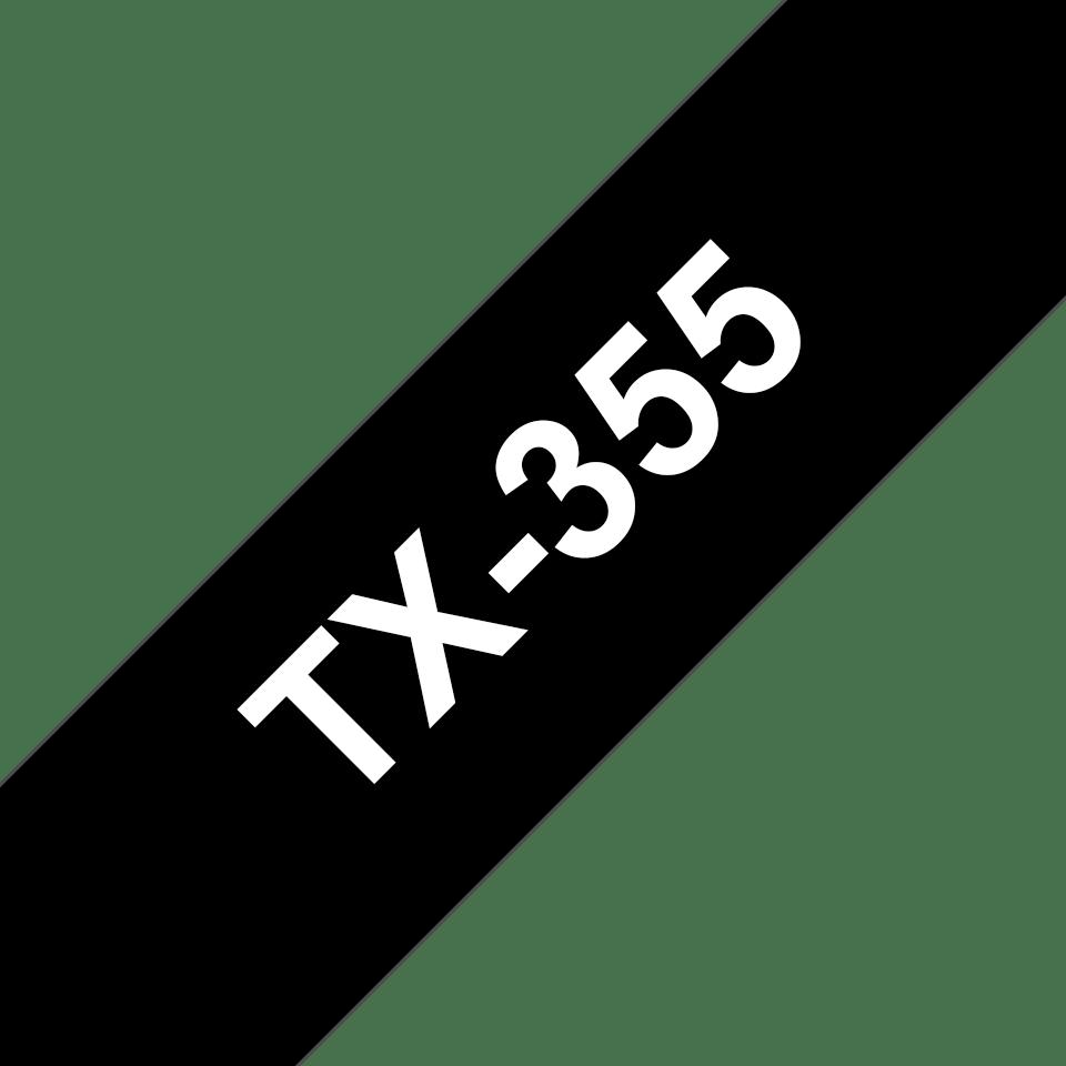 Cassette à ruban pour étiqueteuse TX-355 Brother originale – Blanc sur noir, 24mm de large 0