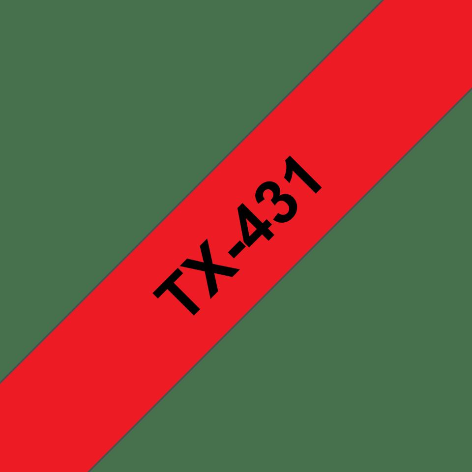 Cassette à ruban pour étiqueteuse TX-431 Brother originale – Noir sur rouge, 12mm de large