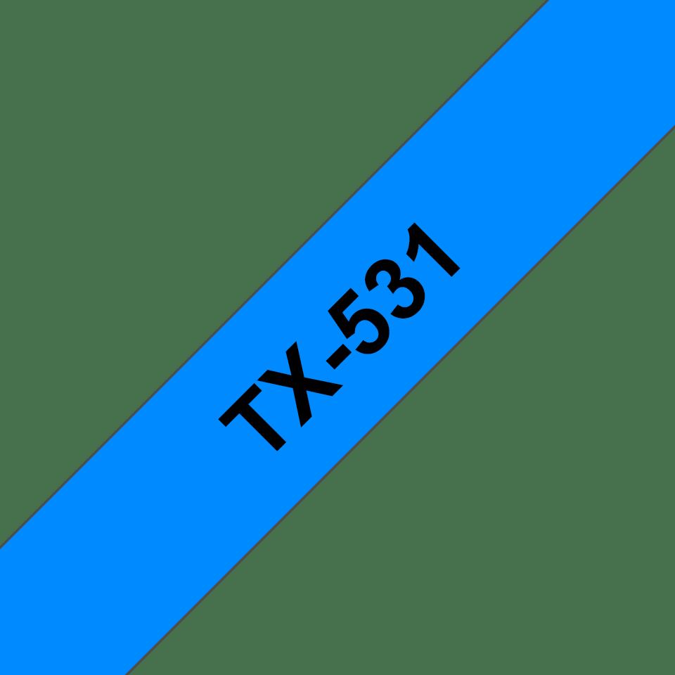 Cassette à ruban pour étiqueteuse TX-531 Brother originale – Noir sur bleu, 12mm de large 0