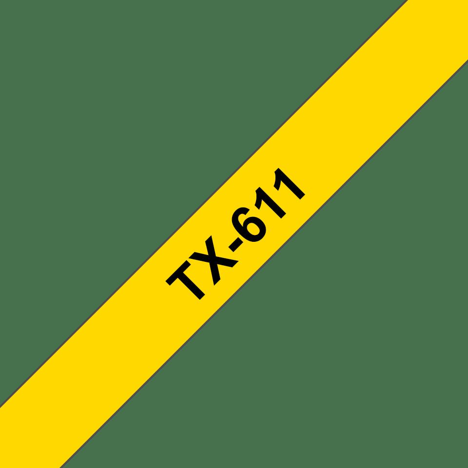 Cassette à ruban pour étiqueteuse TX-611 Brother originale – Noir sur jaune, 6mm de large
