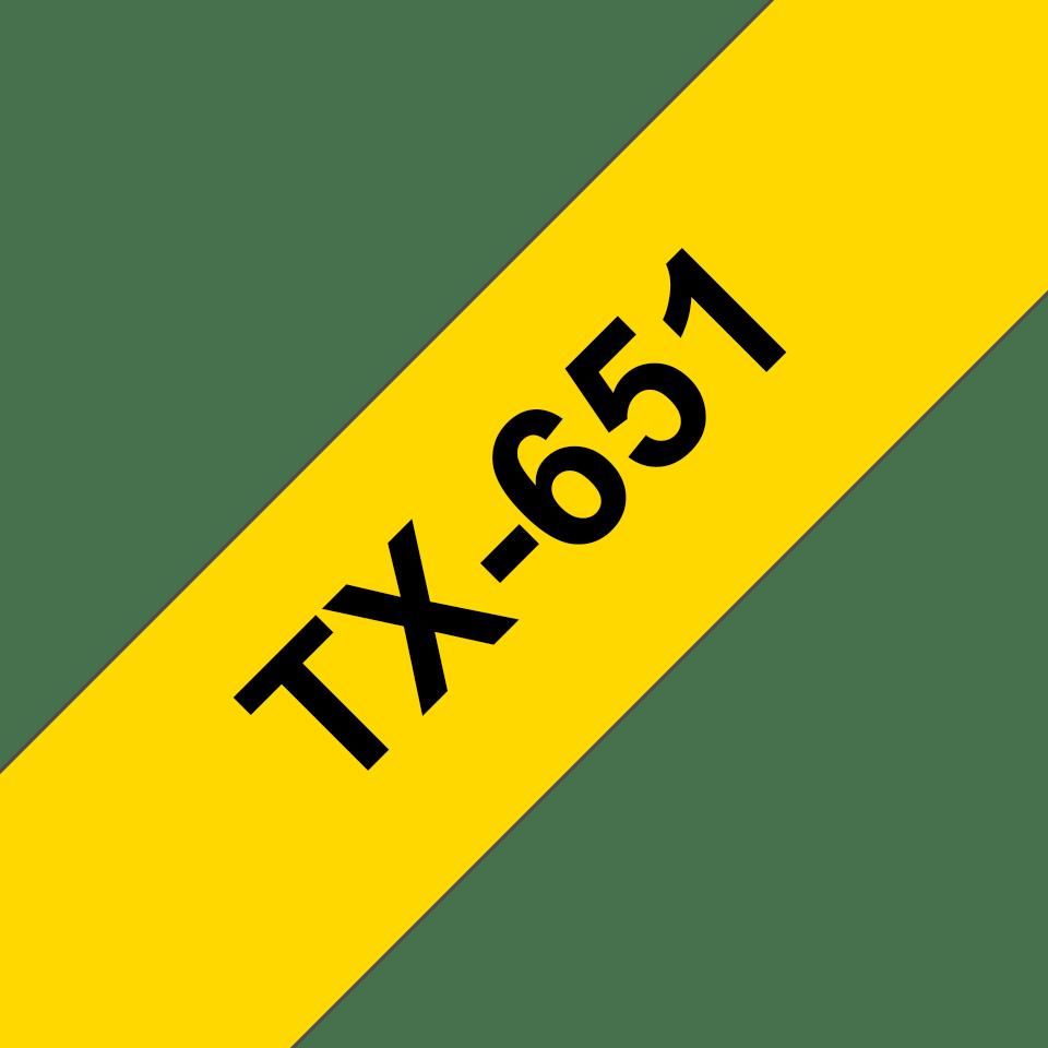 Ruban pour étiqueteuse TX-651 Brother original – Noir sur jaune, 24mm de large