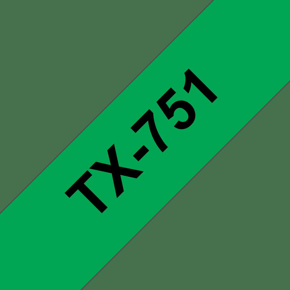 Cassette à ruban pour étiqueteuse TX-751 Brother originale – Noir sur vert, 24mm de large
