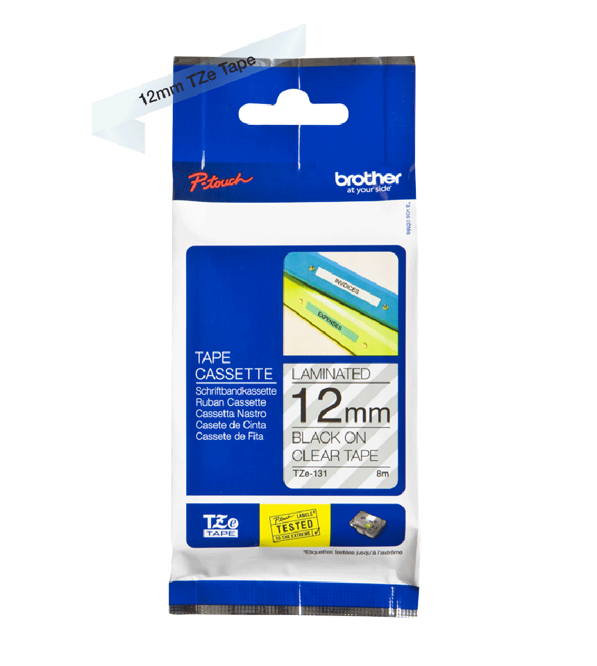 Ruban pour étiqueteuse TZe-131 Brother original – Transparent, 12 mm de large 3