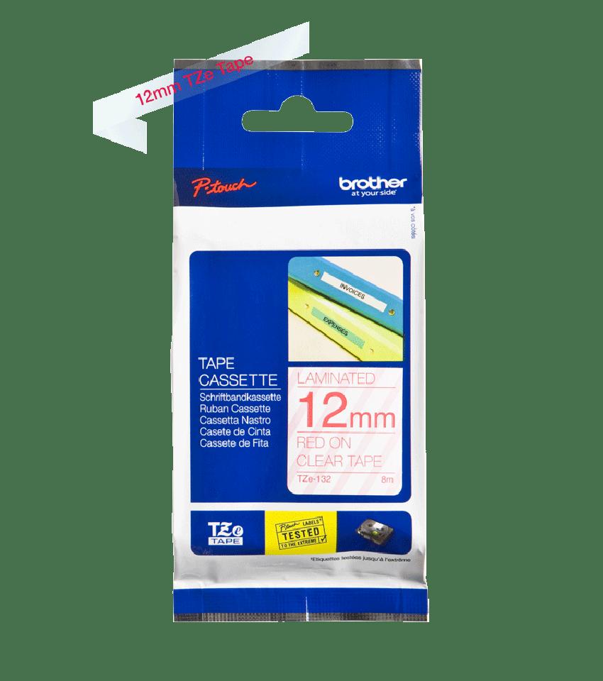 Cassette à ruban pour étiqueteuse TZe-132 Brother originale – Rouge sur transparent, 12mm de large 3