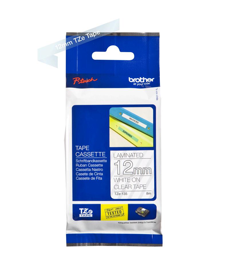 Cassette à ruban pour étiqueteuse TZe-135 Brother originale – Blanc sur transparent, 12mm de large 3