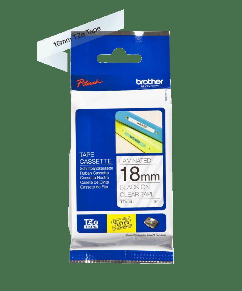 Cassette à ruban pour étiqueteuse TZe-141 Brother originale – Transparent, 18mm de large 3