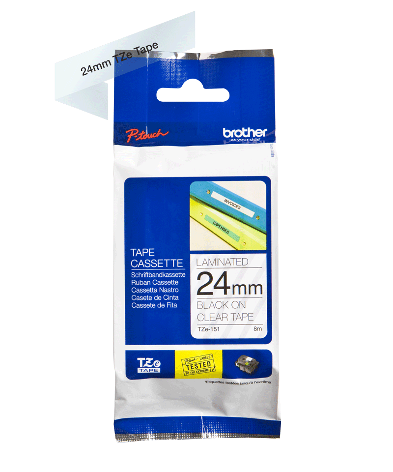 Cassette à ruban pour étiqueteuse TZe-151 Brother originale – Transparent, 24mm de large 3