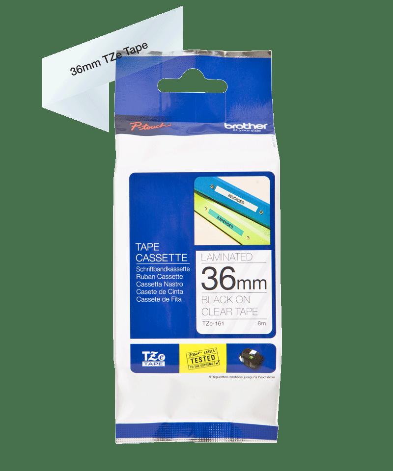 Cassette à ruban pour étiqueteuse TZe-161 Brother originale – Noir sur transparent, 36mm de large 3