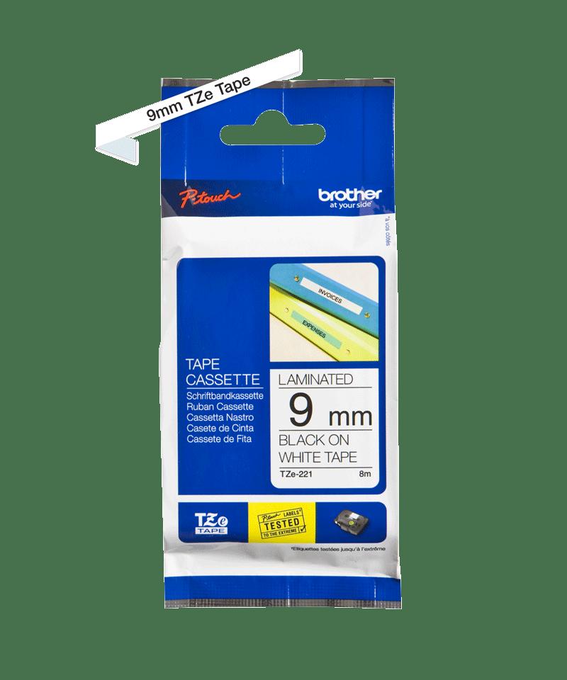 Ruban pour étiqueteuse TZe-221 Brother original – Noir sur blanc, 9mm de large 1