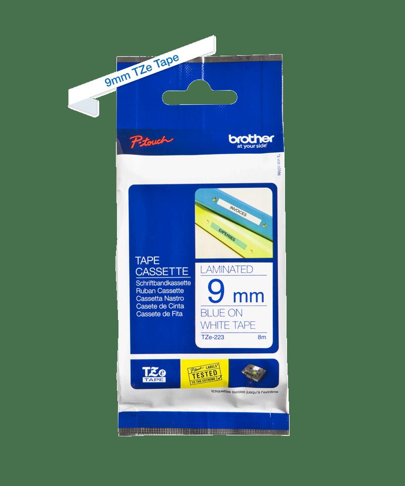 Cassette à ruban pour étiqueteuse TZe-223 Brother originale – Bleu sur blanc, 9mm de large 3