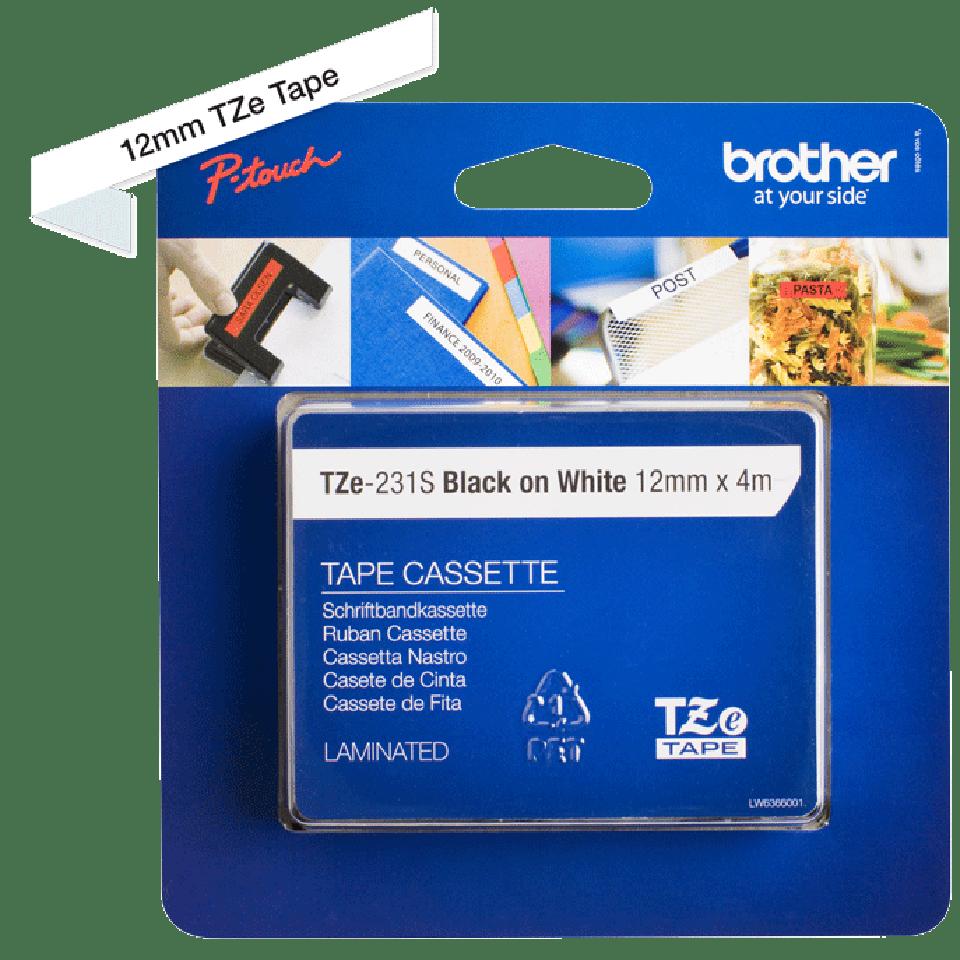Cassette à ruban pour étiqueteuse TZe-231S Brother originale – Noir sur blanc, 12mm de large 3