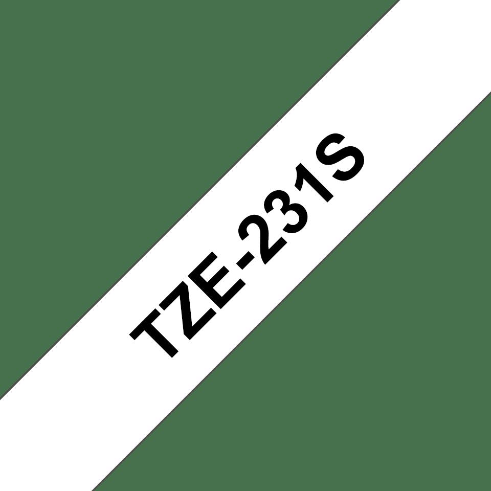 Cassette à ruban pour étiqueteuse TZe-231S Brother originale – Noir sur blanc, 12mm de large