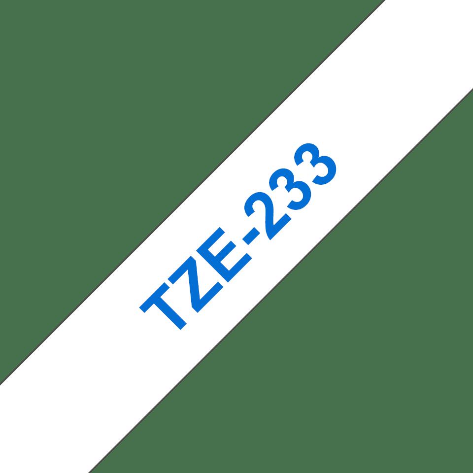 Cassette à ruban pour étiqueteuse TZe-233 Brother originale – Bleu sur blanc, 12mm de large