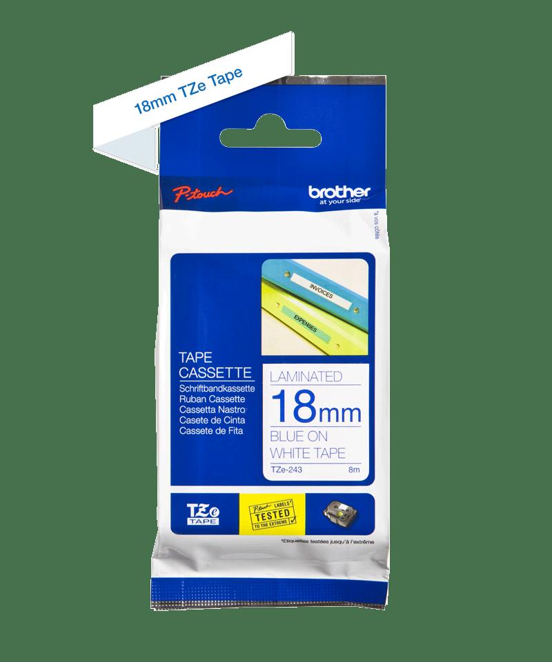 Cassette à ruban pour étiqueteuse TZe-243 Brother originale – Bleu sur blanc, 18mm de large 3