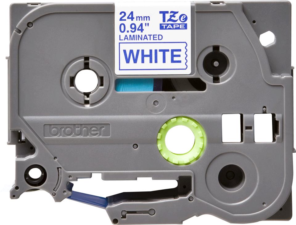 Cassette à ruban pour étiqueteuse TZe-253 Brother originale – Bleu sur blanc, 24mm de large 2