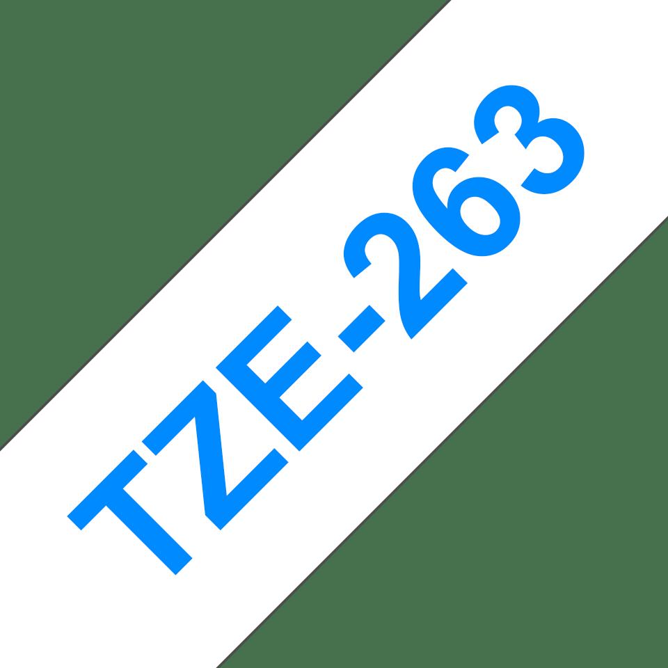 Cassette à ruban pour étiqueteuse TZe-263 Brother originale – Bleu sur blanc, 36mm de large 3